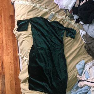 Dark green velour dress. Never Worn. With tags !